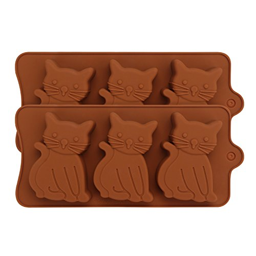Silicone Mold Bakeware Set - 2-Pack - Beasea Cute Kitten,Cat Shaped Chocolate Candy Molds Baking Pan Kit for Ice, Cookies, Soap, Cakes,Cupcake Decoration - Brown Decoration Molds