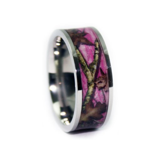 #1 Camo Flat Titanium Pink Rings - Camouflage Engagement Wedding Ring - Pink Camo Bands for Women - Ring Size 7