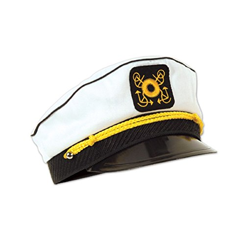 Club Pack of 12 Black and White Nautical Yacht Captain's Cap Halloween Costume Accessories - Adult -