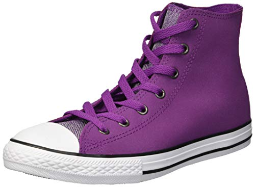 Converse Girls' Chuck Taylor All Star Glitter Leather High Top Sneaker ICON Violet/White, 5.5 M US Big Kid