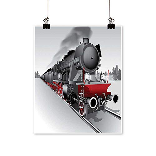 """Modern Painting Locomotive Red Black Tra Headlights Steel Railway Track Graphic Red Bedroom Office Wall Art Home,12""""W x 20""""L/1pc(Frameless)"""