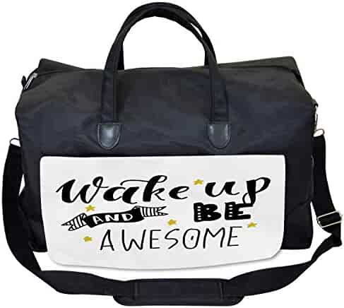 Large Weekender Carry-on Ambesonne Video Game Gym Bag Pixel Robot Emotion