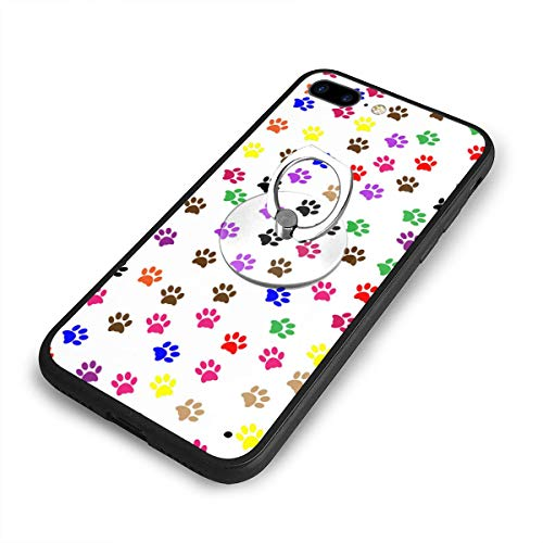 Paw Wallet Prints (RONG FA Paw Prints Background Apple Cell Phone Case for 8 Plus Ultra Thin Hard Cover Protect Apple iPhone 8 Plus with Smartphone Kickstand)