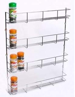 JackCubeDesign Montaje en la pared Spice Rack 5 niveles Cocina Encimera Worktop Display Organizer Botellas de especias Holder Stand Estantes 44.7 x 10.4 x 67.8 cm MK419A -