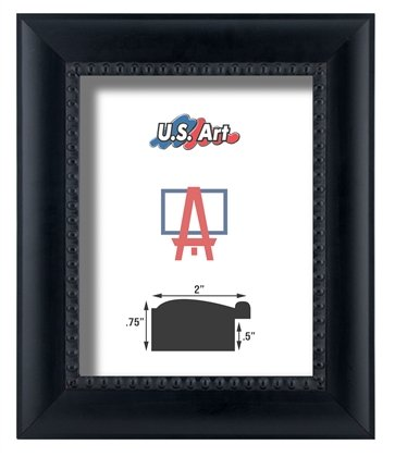 "US Art Frames 10x12 Black Beads 2 1/8"" Solid Wood Picture Poster Frames from US Art"