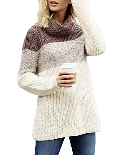 CILKOO Womens Oversized Pullover Colorblock Long Sleeve Cowl Neck Fall Winter Cozy Casual Warm Chunky Cable Knit Sweater Pullovers Coffee US16-18 X-Large