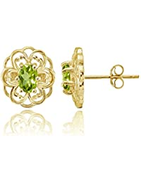 Sterling Silver or Yellow Gold Flashed Gemstone Filigree Flower Stud Earrings