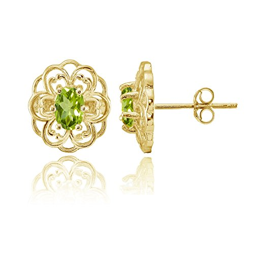 Yellow Gold over Sterling Silver Peridot Filigree Flower Stud Earrings