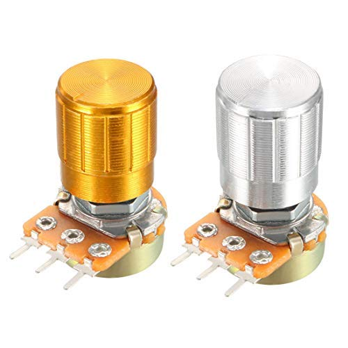 WH148 5Pcs 1K Ohm Variable resistors Conical Single-Turn Rotary Film Potentiometer with knobs