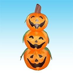 4 Foot Halloween Inflatable 3 Jack-O-Lanterns Yard Art...