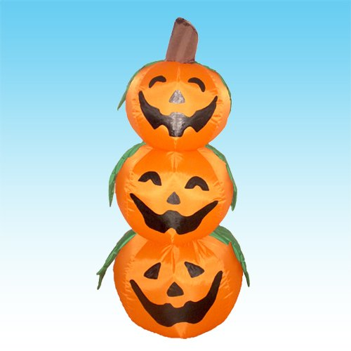 4 Foot Halloween Inflatable 3 Jack-O-Lanterns Yard Art Decoration (Halloween O Helloween)