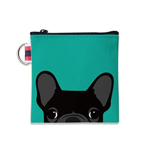 - Cute Black French Bulldog Canvas Coin Purse Cash Bag Small Zipper Purse Wallets Mini Money Bag Change Pouch Key Holder Double Sides Printing
