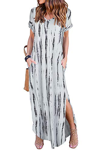 Women's Short Sleeve V Neck Pocket Casual Side Split Beach Long Maxi Dress (Flowy Spring Dresses For Women)