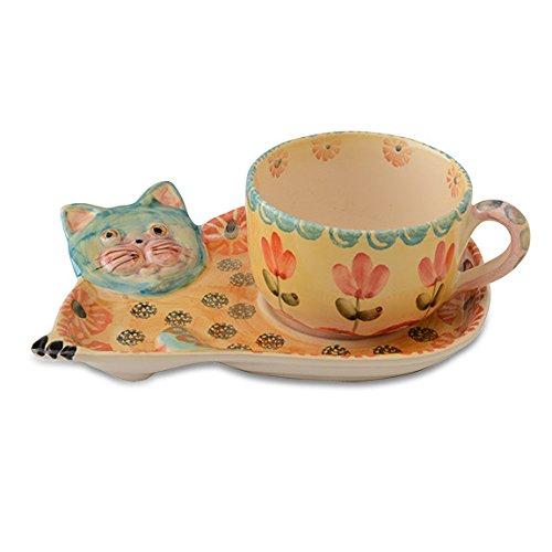 Festa Cat Teacup and Saucer - Italian Dinnerware - Handmade in Italy