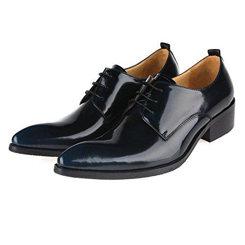 Hombres Negocio Cuero Plano Zapatos Con cordones Primavera Vestir marrón Puntiagudo Soltero Casual Oxfords tamaño 37-44 Blue