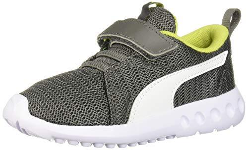 PUMA Baby Carson Velcro Sneaker, Castlerock-Limepunch, 10 M US Toddler (Boy Shoes Size Puma Toddler 10)