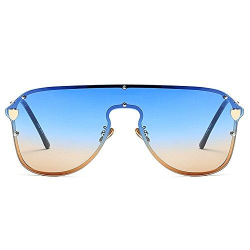 sin de protección al libre de Cool Peggy Summer mujeres de de Gafas gran marco tamaño Gu la vacaciones Beach lente conjoined conducción las UV de Gafas aire Azul Azul Color sol sol de para ppRBawq