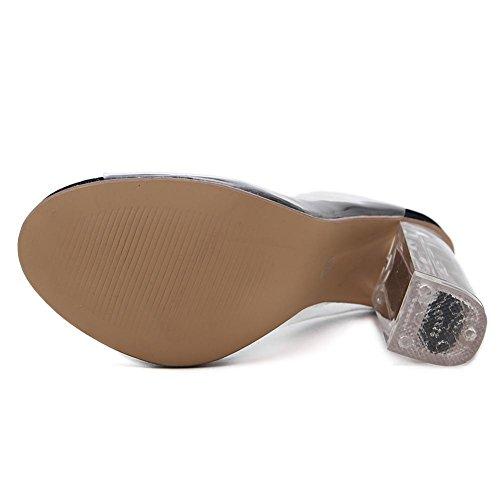 Damen Transparente PVC Sandalen Sexy Stiefel Kristall Schuhe Dick Hoch Hacke Transparent Kreuz Riemen Schwarz Arbeit Party Kleid Nachtclub BLACK