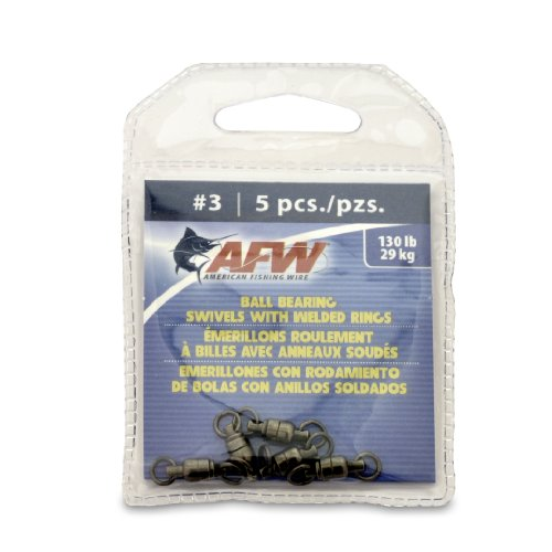 American Fishing Wire Black Ball Bearing Swivels (5 Pieces), Size 3, 130 Pound Test