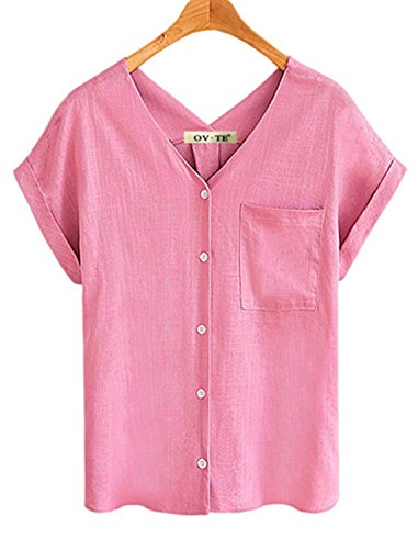 Cotton Classic Fitted Blouse - Woman Blouse Pink Shirt Fitted Women Short Sleeve t Shirt Linen V-Neck top Tees Blouses for Work S-3XL (XL, Pink)