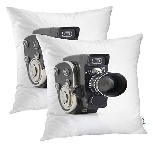 Batmerry Vintage Pillow Covers 18x18 Inch Set of 2, Vintage Old Movie Camera Cinematography Equipment Double Sided Square Pillow Cases Pillowcase Sofa Cushion