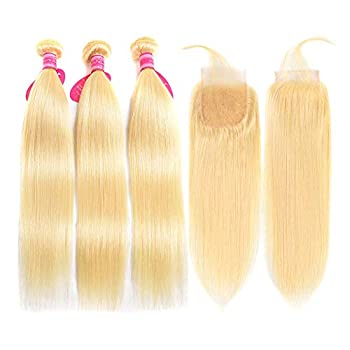 Image of Aopusi 613 Closure with 3 Bundles Brazilian Blonde Straight Hair Bundles with Lace Closure 100% Virgin Straight Remy Hair Weft Human Hair Bundles with Transparent Color Lace Closure(18 20 22+16, 613)