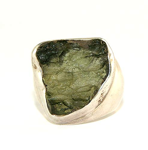 Moldavite Ring - Raw Rough - Polished Sterling Silver - R1807