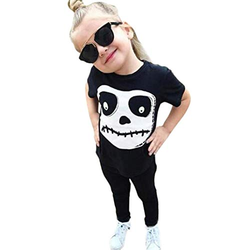 Clearance! vermers Toddler Baby Fashion Halloween Costume Outfits Set Fashion Skull Printed Tops + Pants 2Pcs Set(18M, Black) -