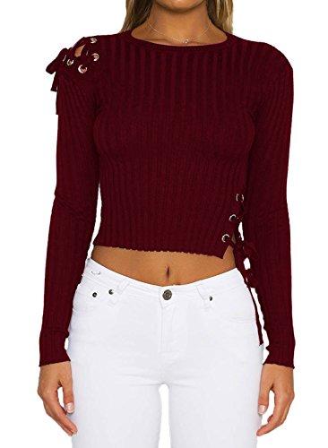 Haut Femmes Court Vin Rond Crop Pulls Longues Chemisiers Couleur Serr Rouge Manches Bandage Tops Fashion Col Shirts Unie T Tricot t 7dZHwq11