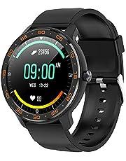 Tititek wb03 Reloj inteligente para teléfonos Android e iOS, reloj inteligente redondo para fitness, IP68, natación, impermeable, monitor de actividad y sueño, con monitor táctil de música, monitor de ritmo cardíaco