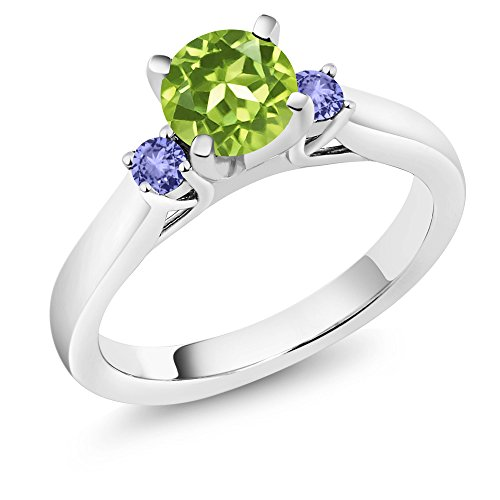 1.09 Ct Heart (1.09 Ct Round Green Peridot Blue Tanzanite 925 Sterling Silver 3-Stone Ring)
