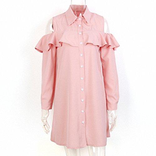 Vlent Sexy Off Shoulder Long Ruffles Sleeve Shirt Dress Women Plus Size Autumn Short Black Dresses 90s Girl Preppy Casual Dress Pink - Preppy 90s
