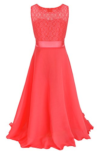 Skirt Dress Full Chiffon Prom (FEESHOW Girls Kids Lace Flower Wedding Pageant Party Chiffon Long Maxi Dress Watermelon Red 8)