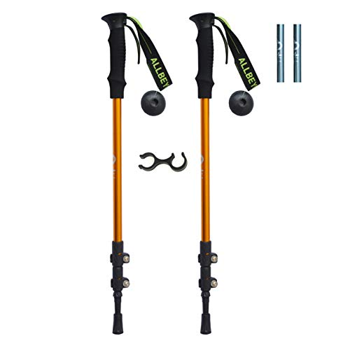 ALLBEYOND Trekking Poles Hiking Poles Collapsible Lightweight Aluminum 7075 Ultralight Walking Sticks (Orange, Quick Lock)