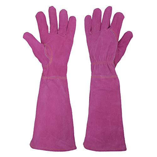 Handlandy Ladies Leather Gardening Gloves, Thorn Proof Long Gauntlet Garden Gloves, Elbow Length Rose Pruning Gloves (Medium, Rosy)