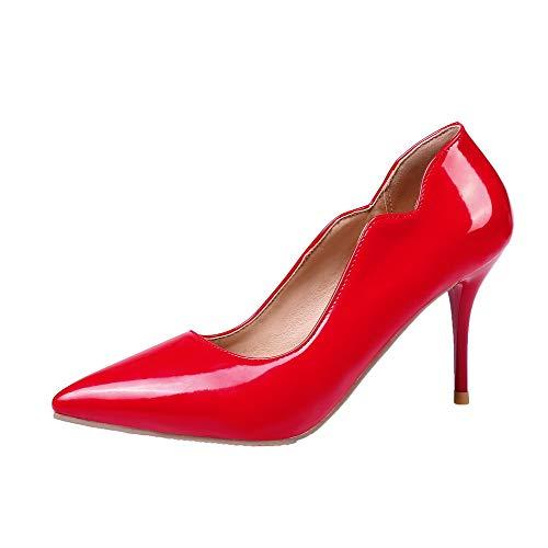 Rosso Luccichio Donna Tacco Tirare Flats Puro Spillo AgooLar Ballet GMMDB005893 A T1wqBvP