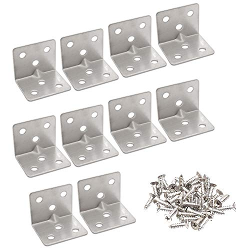 Hub's Gadget 10 Pcs 38mm x30mm x1.5mm(Thick) Stainless Steel Shelf Support Fastener Corner Brace Joint Right Angle L Bracket Angle Code with Hardware Screws