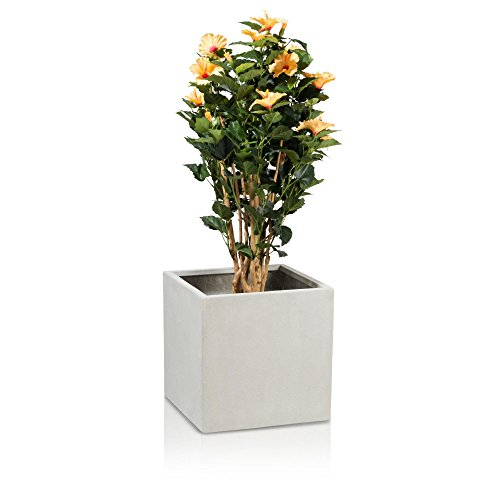 Pflanzkübel Blumenkübel CUBO 40 Fiberglas, 40x40x40 cm, betonoptik, grau