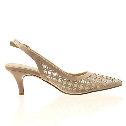 Sopily - Scarpe da Moda scarpe decollete aperto alla caviglia donna fishnet Tacco Stiletto tacco alto 6 CM - soletta sintetico - Rosa
