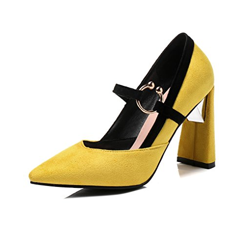 Jaune Haut Soirée Effet Mariage OALEEN Talon Daim Sexy Bloc Chaussures Pointu Moutarde Escarpins Bout Femme ZORq8