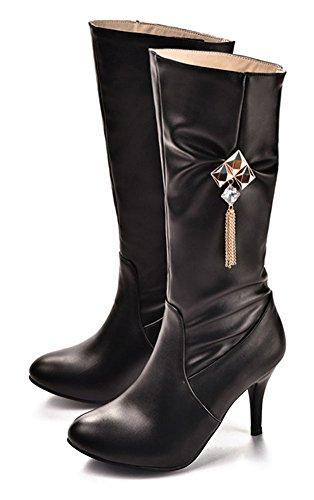 Chfso Kvinners Vinter Stilig Stiletto Kjede Rhinestones Runde Toe Glidelås Høy Hæl Midten Cuff Boots Black