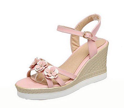 VogueZone009 Women Open Toe Buckle PU Solid High-Heels Sandals, CCALO012673 Pink