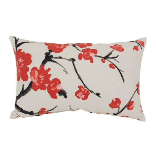 Pillow Perfect Flowering Branch Decorative Rectangle Toss Pillow, 18-1/2-Inch by 11-1/2-Inch, Beige/Red ()