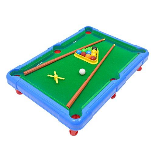 B Blesiya 子どもおもちゃ ミニ ビリヤード 卓上玩具 ボードゲーム 組み立て簡単 ポータブル 全2カラー - 青