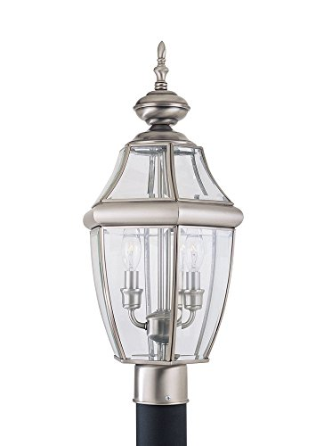 Curved Glass Lantern (Sea Gull Lighting 8229-965 Lancaster Two-Light Outdoor Post Lantern with Clear Curved Beveled Glass Panels, Antique Brushed Nickel Finish)