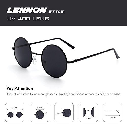 sol metálico redondo Estilo mujeres gafas Vintage E01 Negro inspirado y Gris polarizadas 51mm círculo CGID Lennon Retro hombres para de A 08AgPwx8fq