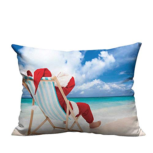 warmfamily Polyester Pillowcase Santa on a Chair Near The Sea Exotic Beach Relaxing Summer Vacation Resting Suitable for Hair and Skin healthW13 x L13