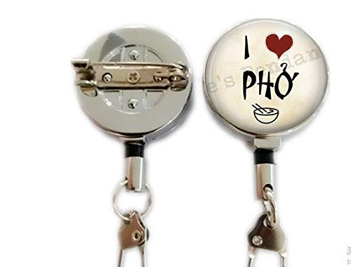 I Love Pho Pendant Necklace - Pho Jewelry - Pho Necklace - Gift for Foodie - Food Lover Gift - Vietnamese,Retractable Badge Holder Carabiner Reel Clip On ID Card Holders