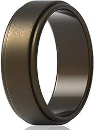 ThunderFit Silicone Wedding Rings for Men 7 Rings / 4 Rings / 1 Ring - Step Edge Sleek Design Rubber Engagemen