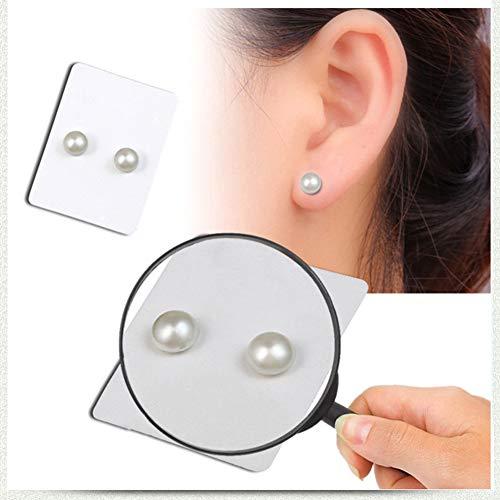 ShiningLove 1 Pair Unisex Fashion Diamante Magnetic Stud Earrings Non-Piercing Clip on Fake Ear Plugs Pearl